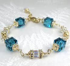 blue crystal bracelet swarovski images Teal bracelet swarovski crystal cube gold filled bridesmaids jpg
