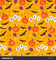 halloween repeating background patterns vector halloween seamless pattern pumpkin ballon stock vector