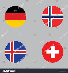 Flag Of Norway Round Button National Flag Germany Norway Stock Vector 679836988