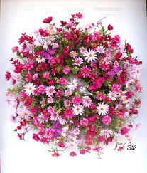 whimsical spring forsythia wreath jenna burger spring wreath daisy wreath pink daisy wreath by seasonalwreaths