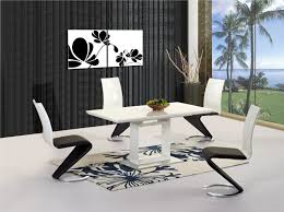 White High Gloss Extending Dining Table And  Chairs Homegenies - White and black dining table