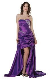 elegant strapless high low purple taffeta ruched prom dress