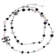 white pearl beaded necklace images Chanel pearl beaded cc long necklace black 81817 jpg
