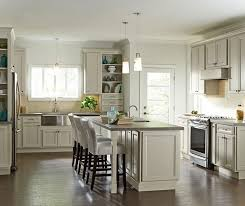 creamy glazed cabinets in casual kitchen homecrest