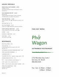 online menu of pho wagon restaurant san jose california 95125