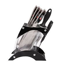 stainless steel kitchen knife set with acrylic knife holder stand
