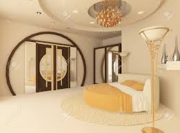 Circle Bed Canopy by Round Bed In A Luxurious Bedroom With A Suspended Ceiling Stock