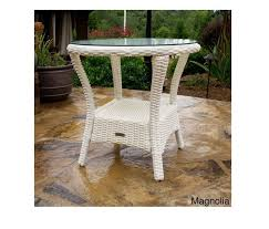 white wicker side table white wicker side table outdoor patio all weather furniture tempered