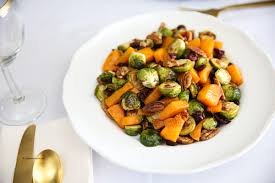 thanksgiving side dish butternut squash brussel sprouts pecan salad