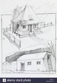hand drawn pencil sketch of an old country house and barn stock