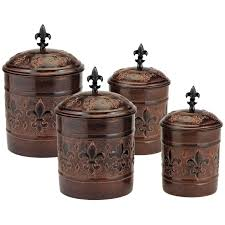 copper finish canister set 4pc kitchen storage coffee sugar flour