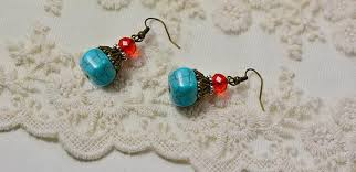 easy earrings how to make a pair of easy turquoise bead drop earrings for