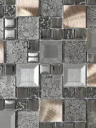 Glass Metal Gray Copper Mosaic Backsplash Tile Backsplashcom - Copper tiles backsplash