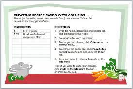 microsoft office recipe card template free printable recipe card