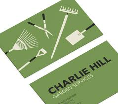 Landscape Business Cards Design Yard Tools Rake Clippers Lawn Care Landscaping Business Cards