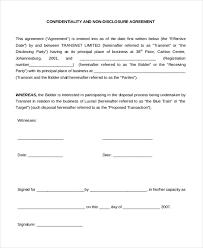 sample non disclosure agreement free confidentiality non