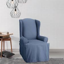 Sure Fit Club Chair Slipcovers Sure Fit Cotton Duck Wing Chair Slipcover Free Shipping Today