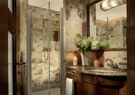 cabin bathrooms ideas glass shower cabin partition wall shoer head black towelshelf