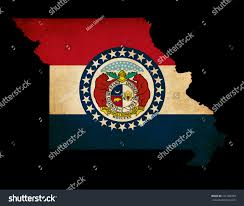 Misouri Flag Usa American Missouri State Map Outline Stock Illustration