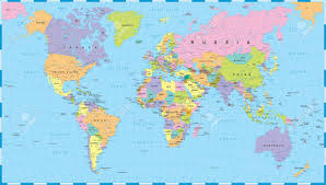 world map by cities colored world map borders countries and cities illustration