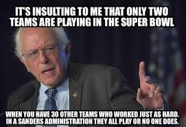 Super Bowl Sunday Meme - hilarious meme shows why bernie sanders hates the super bowl