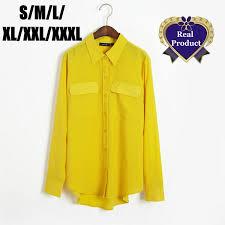 womens yellow tops blouses fashion plus size pocket blouse camisas tops lapel lemon