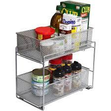 2 tier cabinet organizer 2 tier mesh sliding cabinet organizer walmart com