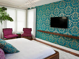 contemporary blue accent guest bedroom come with teal accent wall