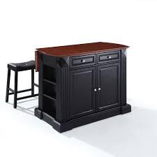 buy kitchen island avoli com crosley kf300074bk drop leaf breakfast bar top kitchen island in black finish with 24 black upholstered