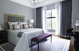 Bedroom With Grey Curtains Decor Bedroom Awesome Dramatic Pattern Bedroom With Wallpaper Decor Grey