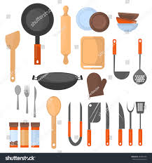 Kitchen Utensil Design by Set Kitchen Utensil Collection Cookware Icons Stock Vector