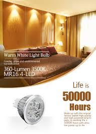 cheap mr16 4 led 360 lumen 3500k warm white light bulb 12v