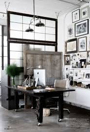 home office dark wood industrial white walls unique home