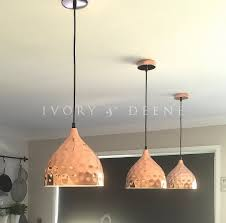Copper Pendant Lights Kitchen Lighting 3 Hammered Polished Copper Pendant Light For Modern
