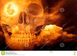 skull halloween background halloween horror background double exposure of human skull comb