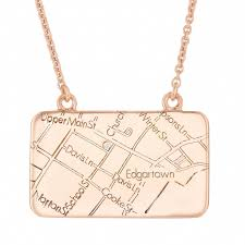 rose gold map necklace with a diamond maps by a jaffe