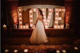 wedding backdrop letters light up letters at owen house wedding barn mobberley cheshire