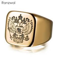 signet ring men ranzwal carving headed eagle russian signet rings men women