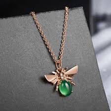 rose gold animal necklace images Wholesale alloy korea animal necklace rose gold green stone jpg