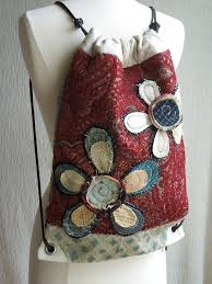 Shabby Chic Upholstery Fabric by Made To Order Drawstring Back Pack Cinch Sack Recycled