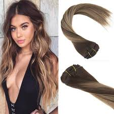 balayage hair extensions clip in balayage ombre human hair extensions brown to caramel