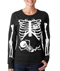 Maternity Skeleton Halloween Costumes by Baby Rib Cage Skeleton With Arms Long Sleeve T Shirt Funny