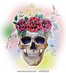skull flowers stock illustration 476486128