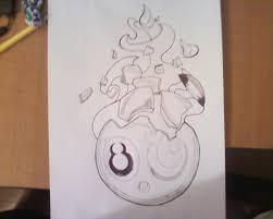 8 ball on fire sketch by brokenzay on deviantart