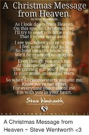 a special christmas a christmas message from heaven by steve wentworth as i look