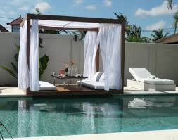 Outdoor Cabana Curtains Fascinating Semi Inground Pools To Inspire Your Exterior Ideas