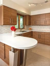 modern kitchen tile backsplash mid century modern kitchen design with a unique geometric tile