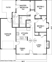 traditional house plans one story 3 bd 2 bath 1 car garage 1050 sq ft house pinterest