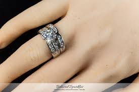 bridal ring sets canada classic 2 carat cut cubic zirconia engagement wedding ring