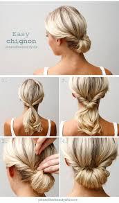 10 updo hairstyle tutorials for medium length hair easy chignon